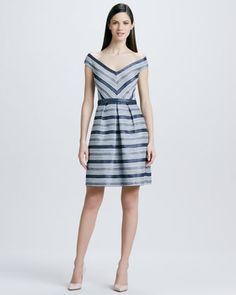 Striped Off-the-Shoulder Cocktail Dress by Kay Unger New York at Neiman Marcus. (just like my Barbie in 1964)