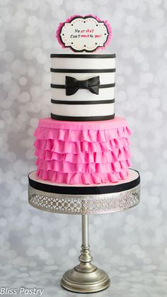 Bowties or Tutus Gender Reveal Party Cake! #GenderReveal #GenderRevealParty #GenderRevealPartyIdeas