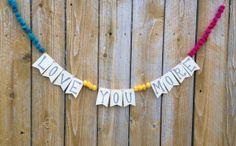 Love You More banner, Valentine's Day banner, wedding shower banner