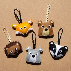 Woodland Animals Felt Decorations - Fox, Bear, Badger, Hedgehog
