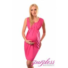 Stunning Sleeveless V Neck Maternity Dress 8437  Hot Pink Create a super flattering silhouette with this simple yet elegant sleeveless maternity dress. Delicate v-neckline, detailed ruched front gives you truly romantic and  feminine look. The dress is perfect for casual and formal events, parties, days out with family and friends or hot dinner dates.