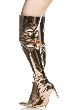 Rose Gold Metallic Thigh High Pointed Toe Boots @ Cicihot Boots Catalog:women's winter boots,leather thigh high boots,black platform knee high boots,over the knee boots,Go Go boots,cowgirl boots,gladiator boots,womens dress boots,skirt boots.
