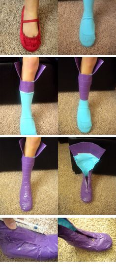 DIY :: How to make duct tape boots for Halloween costumes ( http://sugarnspicecreations.blogspot.ca/2010/10/costume-party-musketeers-part-6.html )