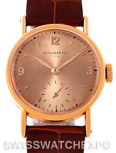 Patek Philippe Calatrava 18k Rose Gold Vintage Mens Watch 534