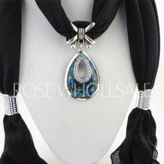 Rhinestone Metal Water Drop Shape Pendant Embellished Tassel Scarf