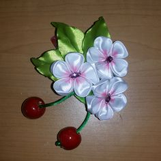 Канзаши Вишня, Заколки из лент. Цветы из лент.