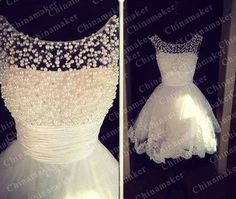 Cute for leaving the reception - 2014 NEW Short custom Lace and Tulle evening gown by chinamaker, $102.00