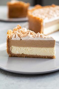 This Coffee Mousse Cheesecake features a thick graham cracker crust with a silky cheesecake layer topped with coffee mousse and whipped cream. Coffee Cheesecake, Lemon Cheesecake, Cheesecake Bars, Chocolate Cheesecake, Pumpkin Cheesecake, Cheesecake Recipes, Dessert Recipes, Strawberry Cheesecake, Cheesecake Mousse Recipe