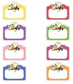 Cubby Tags, Ribbon Png, Boarder Designs, Blog Backgrounds, School Labels, Bee Party, Winnie, Bee Theme, School Decorations