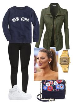 """""""NY"""" by frenkiefashion on Polyvore featuring LE3NO, J.Crew, NIKE, Casio and Tory Burch"""