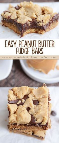 Mel's Kitchen Cafe. Lovely A decadent fudge filling sandwiched between soft peanut butter cookie dough makes these easy peanut butter fudge bars absolutely irresistible! Characteristic of The Pin: Easy Peanut Butter Fudge Bars Dessert Simple, Easy Dessert Bars, Taco Dessert, Beaux Desserts, Köstliche Desserts, Chocolate Desserts, Chocolate Drizzle, Desserts For A Crowd, No Bake Summer Desserts