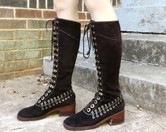 9efc1a5b6cf Vintage 70s Amapa Dark Brown Suede Leather + Gold Side Woven Square Toe  Stacked Heel Knee High Tall Lace Campus Boots 7