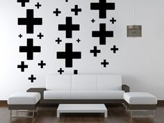 Wall Decal Geometric Plus Positive Sign by WallStarGraphics, $195.00