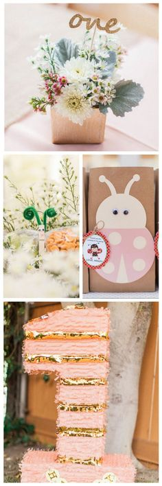 Adorable Ladybug Garden First Birthday Party Ideas - loving the sweet, floral decor and that fringed piñata!