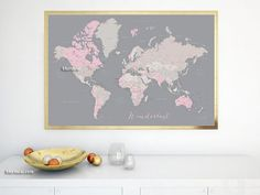 "36x24"" Printable world map with capitals & cities, diy travel pinboard, wanderlust inspirational quote, dusty pink, travel gift. map141 030"