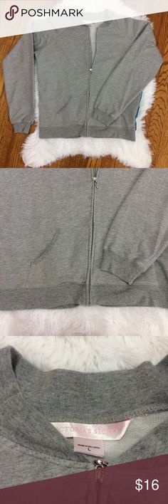 """VS Zip Up Sweatshirt Light heathered gray zip up with a Shimmery two tone blue strip going down the sides. 2 front pockets. P-P 21 S-H 24"""" Sleeve: Pit to cuff 20.5"""" Victoria's Secret Tops Sweatshirts & Hoodies"""