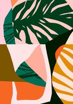 "illustration : Tom Abbiss Smith, ""Forebode"", feuillage exotique inspirational colour combinations and collage ideas Art And Illustration, Illustrations, Design Textile, Design Art, Interior Design, Motifs Textiles, Textile Patterns, Plakat Design, Fantasy Kunst"