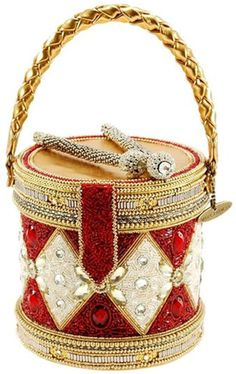Enjoy exclusive for MARY FRANCES Don't Miss Beat Beaded Holiday Drum Top-Handle Handbag online - Trendyclothingonline Mary Frances Purses, Mary Frances Handbags, Haute Couture Handbags, Unique Handbags, Beaded Purses, Handbags Online, Leather Design, Shoulder Handbags, Evening Bags