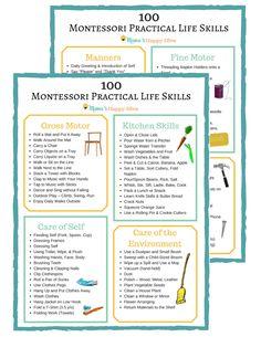 100+ Montessori Practical Life Skills