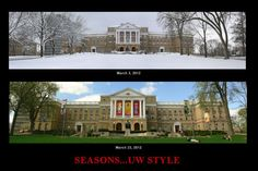Spring comes quickly in Wisconsin. These two pictures were taken less than three weeks apart. That's Bascom Hall, the campus's most iconic building. In front of Bascom Hall is a statue of Abraham Lincoln. It is said that the statue stands up whenever a chaste young woman walks past.