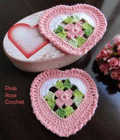 PINK ROSE CROCHET /: Centrinho Coaster Coração Granny Square Rosa e Branco