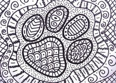 OOAK Pawprint Zentangle ACEO Dog Paw Drawing Cat Illustration By