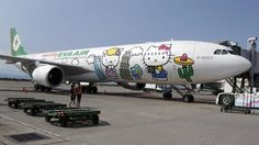 Currently, three Hello Kitty-themed Airbus A330-300 aircrafts fly between cities such as Taipei, Fukuoka, Narita, Sapporo, Incheon, Hong Kong and Guam. The planes are a collaboration between Taiwan's Eva Air and Japan's Sanrio, which owns the Hello Kitty brand. (PICHI CHUANG/PICHI CHUANG/REUTERS)