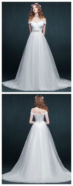 White Court Train Off-the-shoulder Tulle, simple and classic
