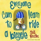 Everyone Can Learn to Ride a Bicycle by Chris Raschka. To reserve it: http://search.westervillelibrary.org/iii/encore/record/C__Rb1567682__Severyone%20can%20learn%20to%20ride__Orightresult__U__X6?lang=eng&suite=gold