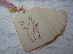 Handmade Gift Tags  Stamped Bunny with Flower  Easter by wkburden, $4.99