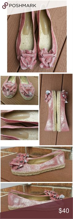 Donald J. Pliner Pink Espaderilles Flats Donald J. Pliner Pink Silver Metallic Suede Espadrille Flats.   They are in perfect condition Like New. No signs of wear. Please see photos. Details Color: Pink with a Silver Sheen Size: 8 Sueded fabric uppers with metallic overlay Rose adorns toe Espadrille platform Leather lined Rubber soles Donald J. Pliner Shoes Espadrilles