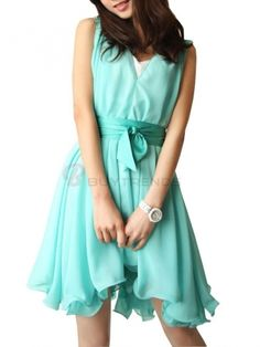 Sweet High Low Bowtie Pure Color V-Neck Sleeveless Women Summer Casual Dress on buytrends.com