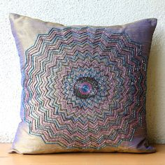 Throw Pillow Covers 16x16 Silk Bead Embroidered Accent Pillow Cover Couch Sofa Pillow Decorative Pillows Gold Brown Pillow Cases Multi Blast...