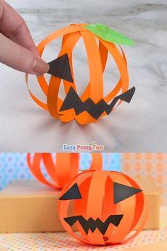 Paper Pumpkin Craft simple Halloween craft for kids Halloween Arts And Crafts, Halloween Crafts For Toddlers, Halloween Crafts For Kids, Diy Halloween Decorations, Toddler Crafts, Halloween Diy, Holiday Crafts, Kids Crafts, Kids Diy