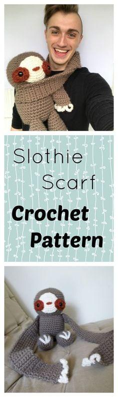 Free Crochet Pattern DIY - Sloth Scarf Amigurumi Wearable