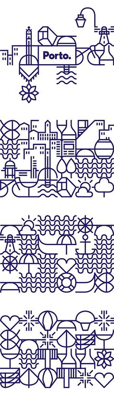 City of Porto New Identity  Inspired by the stories in the tiles we developed more than seventy geometric icons that represented the city and its people. The icons were designed based on a grid that could connect them with each other, creating a continuous network that evokes a tile panel. These icons became a visual code to represent the city. A code that can live by itself, viewing each symbol individually, or as a network of symbols that show the never-ending complexity of our city. The…