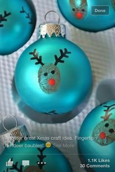 finger print raindeer baubles