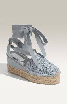 Ralph Lauren Collection 'Umika' Ribbon Strap Crochet Espadrille available at #Nordstrom