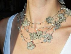 Linen Crocheted Lariat Necklace. NELL.   Natural by magdalinen