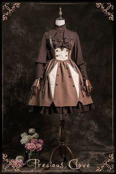 Precious Clove -The Gentle Knight- Vintage Lolita High Waist Skirt with Shoulder Straps