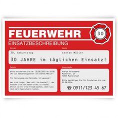 #Einladungskarten im #Feuerwehr Design. Mit eigenem Text. Auf http://www.kartenmachen.de/shop/einladungskarten-feuerwehr.html