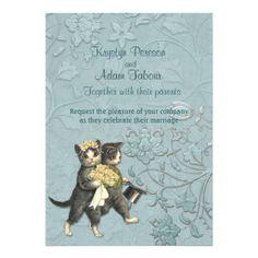 Posh Cats Aqua Blue Wedding Invitation