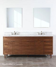 Austin Teodor Modern American Black Walnut Vanity w/ Blumotion®, Double Sink Master Bath Vanity, Master Bathroom, Boho Bathroom, Bathroom Tiling, Victorian Bathroom, Bathroom Renos, Basement Bathroom, Bathroom Cabinets, Houses