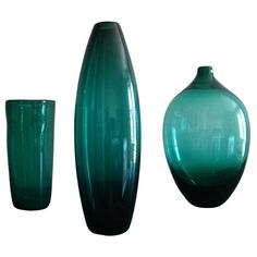 Set of Three Mid-Century Scandinavian Glass Vases, 1950s-1960s | From a unique collection of antique and modern vases at https://www.1stdibs.com/furniture/dining-entertaining/vases/