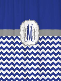 Shower Curtain Royal Blue Half Chevron With Gray Accents 69x70