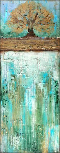 Summers Roots - Mixed Media Art About the surface: It is a 100% cotton wrapped canvas that was double primed and adhered with an acid-free adhesive. Each panel