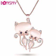 Newei Cat Necklace Cute Pendant Brand Crystal Rhinestone Chain Choker New 2017 Girl Women Fashion Jewelry Statement Accessories #Affiliate