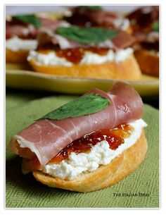 Crostini, Goat Cheese, Fig Jam, and proscuitto.