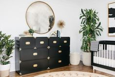 A Crazy Chic Nursery for Emily Maynard's Newest Bundle of Joy (Style Me Pretty Living) Gold Nursery, Nursery Twins, Chic Nursery, Gold Bedroom, Bedroom Green, Nursery Neutral, Nursery Ideas, Nursery Decor, Black Crib Nursery