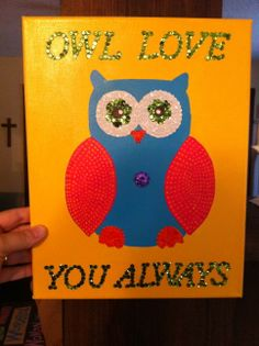 Owl love you always sequin mosaic canvas $20.00 #teresascanvascreations